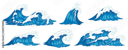 Obraz Ocean waves. Raging sea water wave, vintage storm waves and ripples tides hand drawn vector illustration - fototapety do salonu
