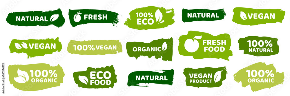Fototapety, obrazy: Organic food labels. Fresh eco vegetarian products, vegan label and healthy foods badges vector set