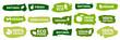 Organic food labels. Fresh eco vegetarian products, vegan label and healthy foods badges vector set