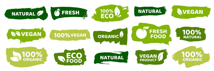 Organic food labels. Fresh eco vegetarian products, vegan label and healthy foods badges vector set