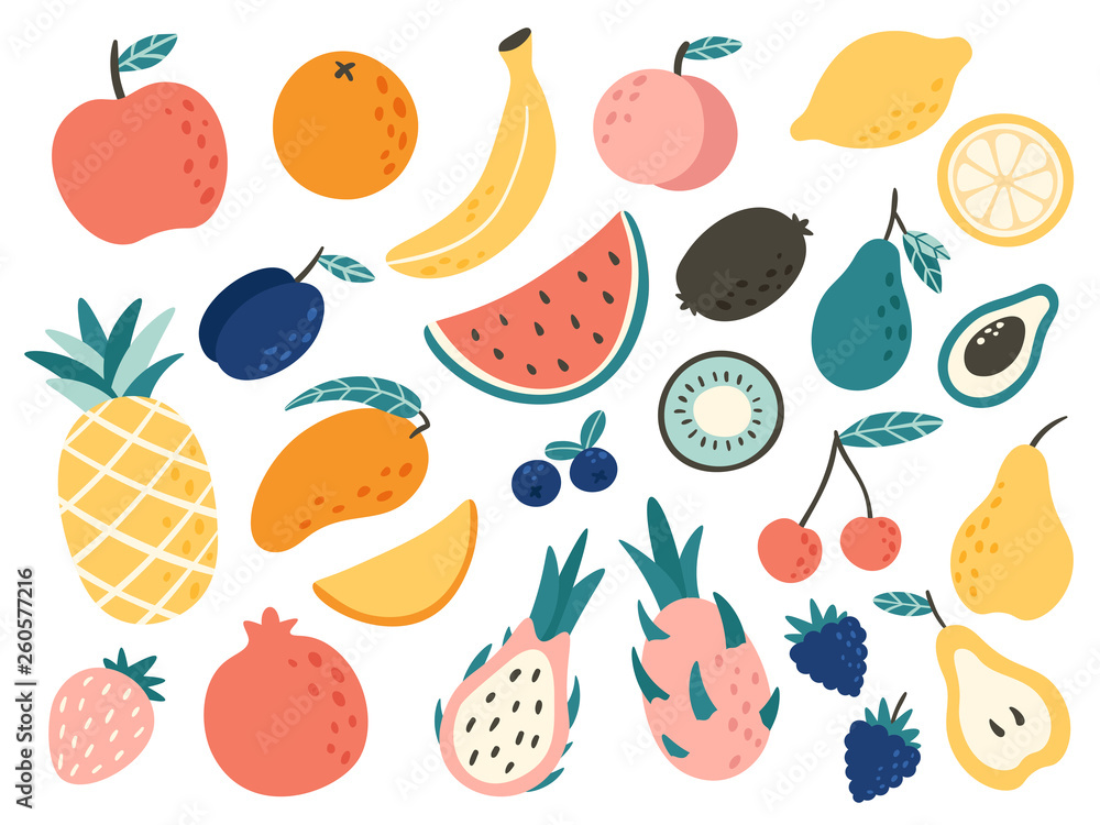 Fototapety, obrazy: Doodle fruits. Natural tropical fruit, doodles citrus orange and vitamin lemon. Vegan kitchen apple hand drawn vector illustration