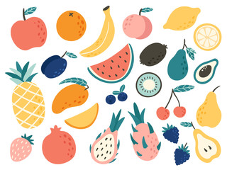 Doodle fruits. Natural trop...