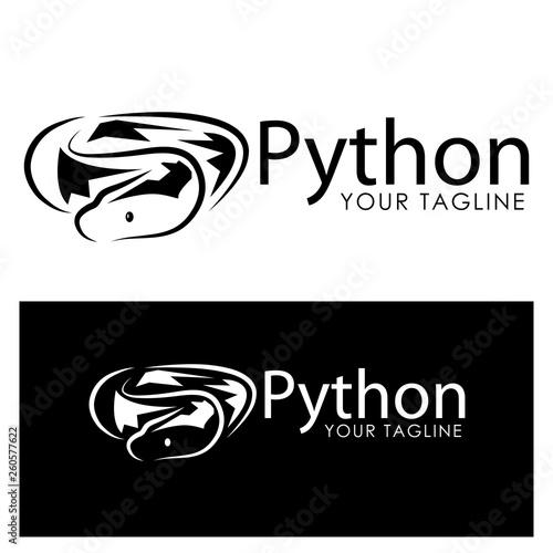 Black python logo template. Black python Monogram Wall mural