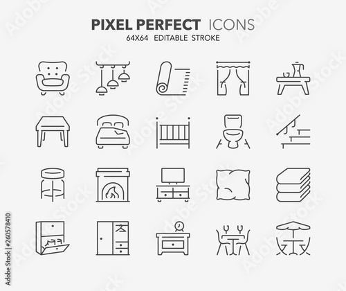 Canvas furniture thin line icons 1
