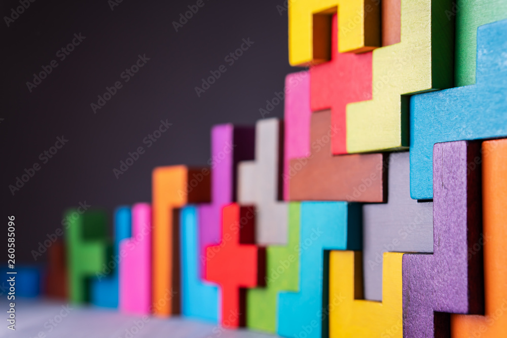 Fototapety, obrazy: Geometric shapes on a wooden background.