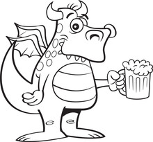Black And White Illustration Of A Winged Dragon Holding A Mug Of Beer.