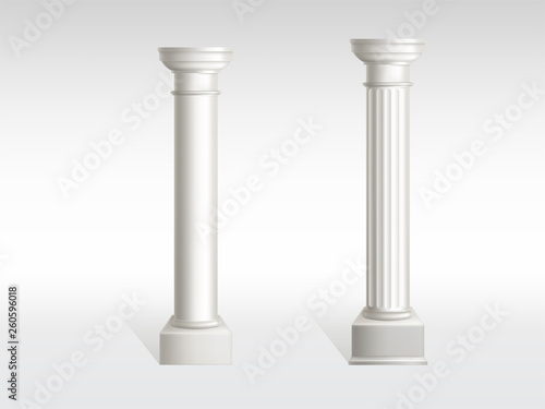 Fotomural Cylindrical columns of white marble with smooth, textured pillar surfaces realistic vector isolated on white background with shadow