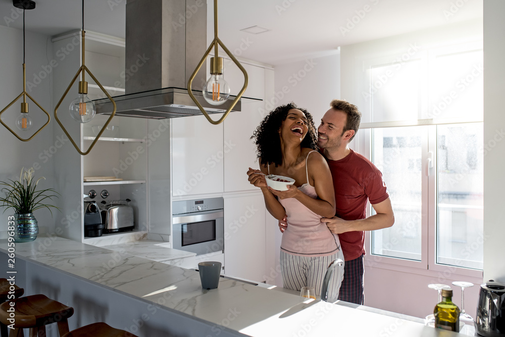 Fototapety, obrazy: Couple having breakfast at home
