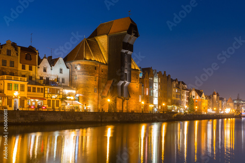 Fototapety, obrazy: Architecture of the old town of Gdansk with historic Crane at Motlawa river, Poland