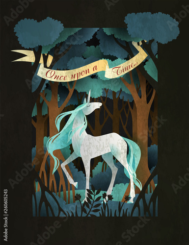 Unicorn in front of magic forest  Fairy tale book cover or poster
