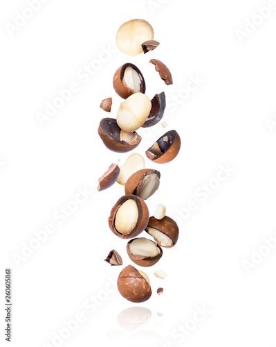 Photo Cracked macadamia nuts fall down isolated on white background