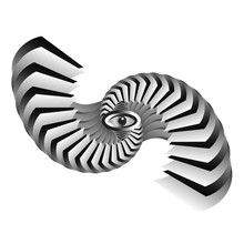 Abstract Twisting And Bending, Black And White Steps,gradation. Surrealism. Dynamic Illusion In The Style Of Escher. 3D Object Eye. Psychology And Philosophy, A Sample For Printing.