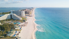 Beautiful Beach In Cancun, Aerial View. Zona Hoteliera. Caribbean Coast, Yucatan, Mexico