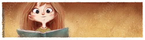 cara de niña con libro Canvas Print