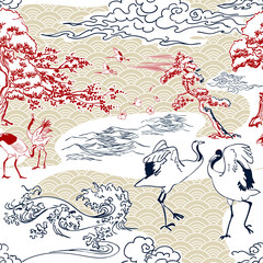 Fototapeta Japoński cranes japanese pines vector pattern traditional oriental