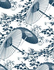Fototapeta Japoński japanese traditional vector illustration sakura umbrella pattern