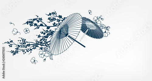 Fotografie, Tablou japanese traditional vector illustration umbrella sakura card background