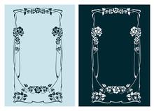 Art Nouveau Rose Vector Frame ...