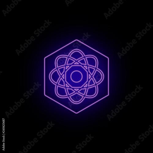 Fotografia  Biotechnology, icon, atom, neon
