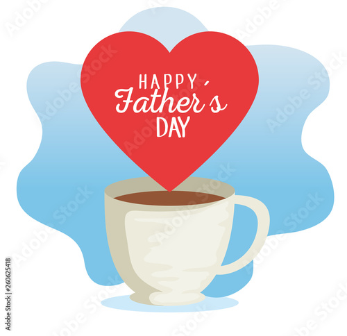 Poster Retro sign coffee cup with heart card to fathers day celebration