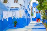 Fototapeta Fototapety na drzwi - Beautiful street of blue medina in city Chefchaouen,  Morocco, Africa.