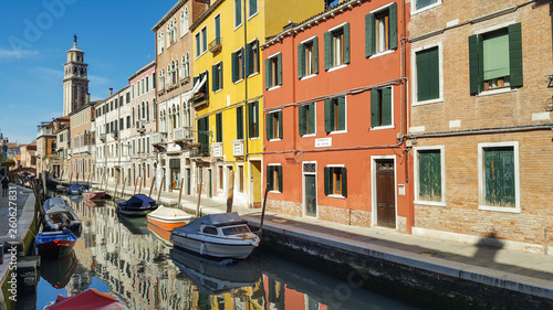 Old buildings, boats and canals in Venice,Italy, 2019 Wallpaper Mural