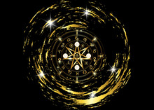 Wiccan Symbol Of Protection. Gold Mandala Witches Runes, Mystic Wicca Divination. Ancient Occult Symbols, Earth Zodiac Wheel Of The Year Wicca Astrological Signs, Vector Isolated Or Black Background
