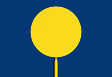 Yellow Pencil Draw Yellow Circle Shape For Copy Space On A Blue Background.