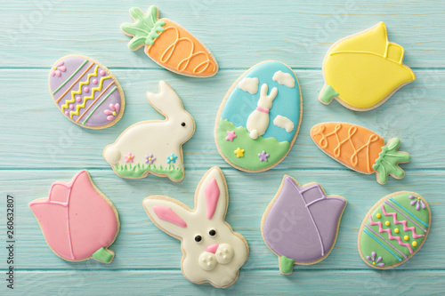 Fototapeta Easter sugar cookies decorated with royal icing obraz