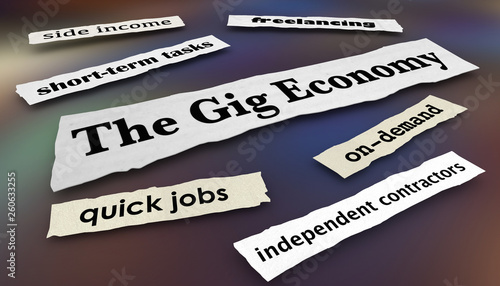 The Gig Economy Quick Jobs Independent Workers News Headlines 3d Illustration - 260633255