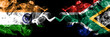 canvas print picture - India vs South Africa, African smoke flags placed side by side. Thick colored silky smoke flags of Indian and South Africa, African