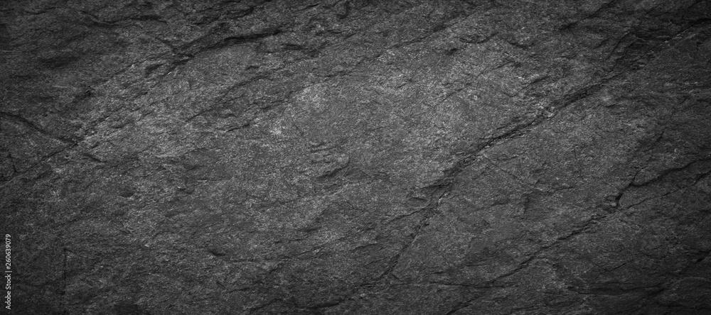 Fototapeta Panorama dark grey black slate background or texture.Panorama black slate background