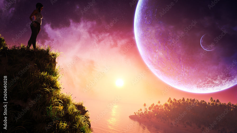 Fototapeta concept art of fantasy young woman in epic natural landscape with majestic sky