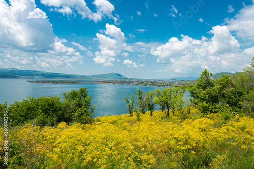 Photo Sevan, Armenia - Jun 07 2018- Sevan lake view from Sevanavank Monastery