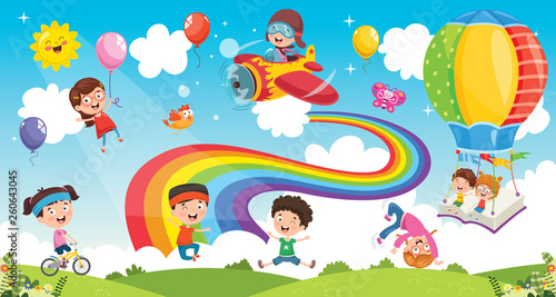 Vector Illustration Of Rainbow Children