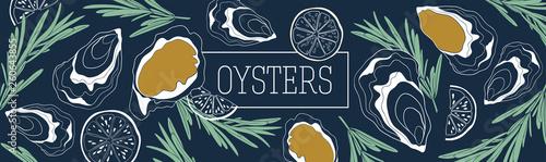 Oysters banner vector template Slika na platnu