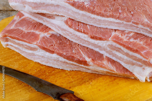 Fotografie, Obraz  Fresh raw bacon on wooden table