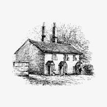 Rustic House Vintage Drawing