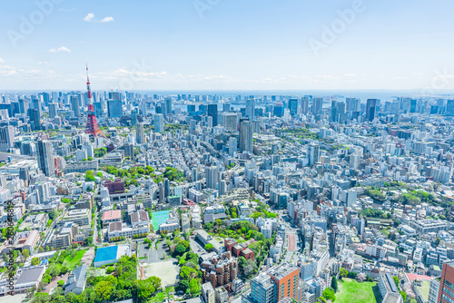 Foto auf AluDibond Tokio 春の東京風景 Tokyo city skyline , Japan
