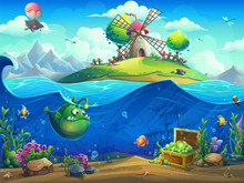 Undersea World With Mill On Th...