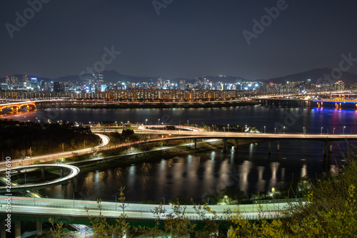 Photo  The night view of Seoul