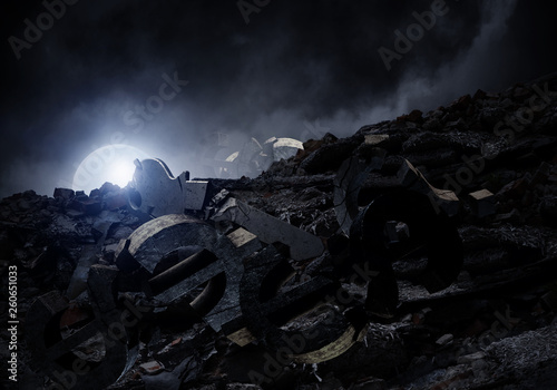 Fotografie, Tablou  Dark grunge background with full moon