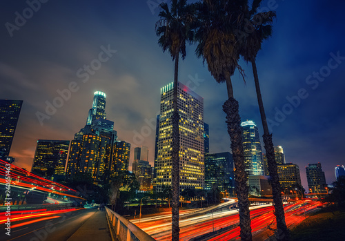 Night traffic in Los Angeles, CA, USA Fototapeta