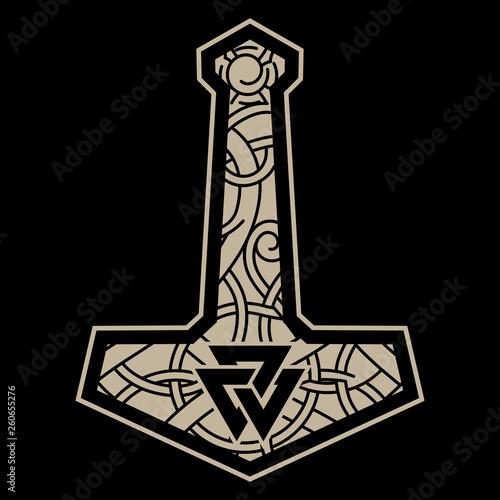 Thors hammer - Mjolnir and the Scandinavian ornament Canvas Print