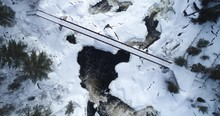 Winter Aerial Birds Eye View Of Bridge Over Onaping Falls, Push In