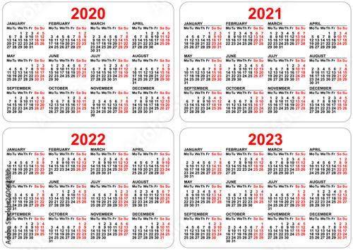 2022 2023 Pocket Calendar.2020 2021 2022 2023 Years Set Pocket Calendar Grid Template Organizer Planner Stock Vector Adobe Stock