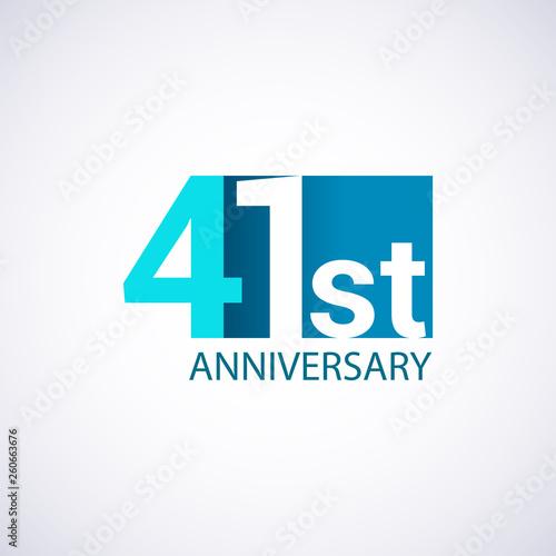 Papel de parede Template Logo 41 anniversary blue colored vector design for birthday celebration