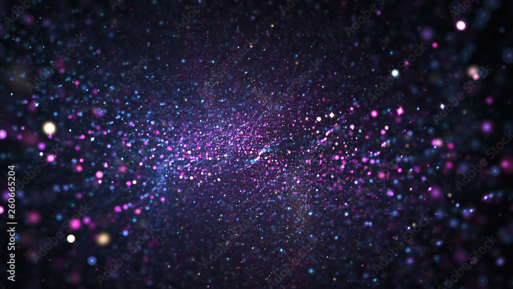 Fototapety, obrazy: Abstract blue and violet blurred lights. Fantasy colorful holiday sparkle background. Digital fractal art. 3d