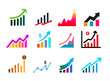 Set of graph icon. Profits transparency logo concept. Vector illustration. Isolated on white background.