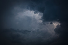 Heavy Storm Cloud On Dramatic Moody Dark Sky